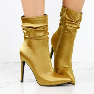 Fashion Gold Stiletto Boots Satin Pointy Toe Ankle Boots Zip Shoes