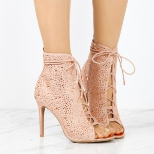 Fashion Nude Pink Lace up Boots Peep Toe Rhinestone Ankle Boots
