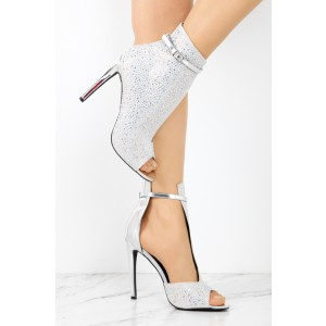Silver Cut Out Boots Rhinestone Hotfix Stiletto Heel Peep Toe Booties