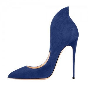 Navy Suede Shoes Stiletto Heel Pumps Pointy Toe Office Shoes
