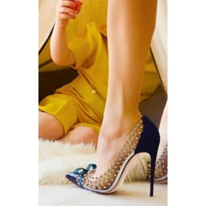 Women's Navy Pointed Toe Clear Rivets Stiletto Heels Pumps