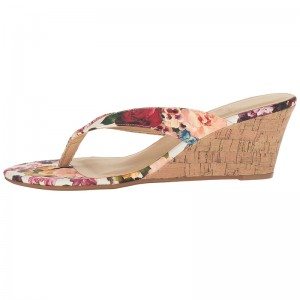 Tan Floral Wedge Flip Flops