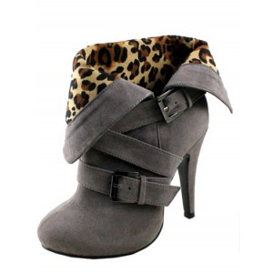 Grey Vintage Boots Round Toe Suede Leopard Print Shoes