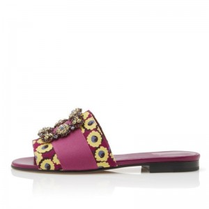 Fuchsia Floral Canvas Rhinestone Flat Slide Sandals