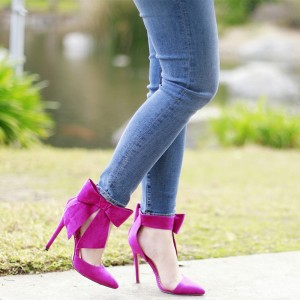 Women's Petunia Suede Bow Ankle Strap Heels Pointy Toe Pumps