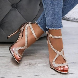 Glitter Rose Gold Shoes Open Toe Stiletto Heels Prom Sandals
