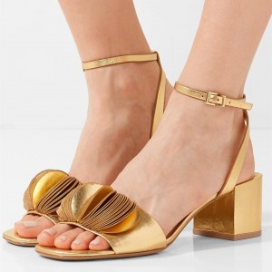 Gold Ankle Strap Heels Open Toe Block Heel Sandals