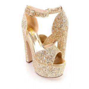 Women's Golden Dazzling Ankle Strap Sandals Buckle Chunky Heel Sandals