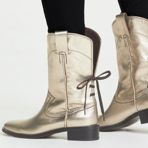 Gold Chunky Heels Cowgirl Boots Round Toe Back Lace up Ankle Booties
