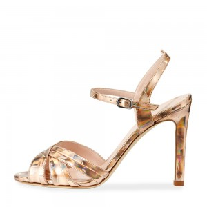 Gold Evening Shoes Peep Toe Slingback Sandals