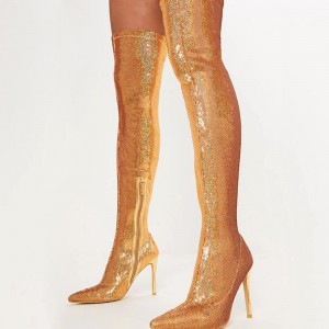Gold Fish Scale Sock Boots Pointed Toe Stiletto Heel Thigh High Boots