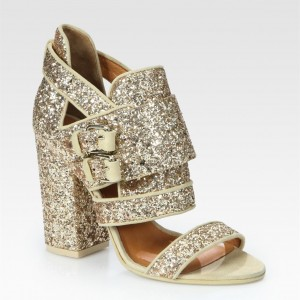 Gold Glitter Shoes Open Toe Chunky Heel Sandals for Prom