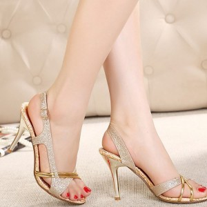 Gold Glitter Dress Sandals Low Heel Slingback Sandals