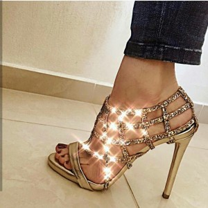 Gold Glitter Shoes Caged Stiletto Heel Sandals