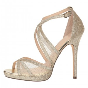 Champagne Glitter Shoes Platform Cross Over Stiletto Heel Sandals