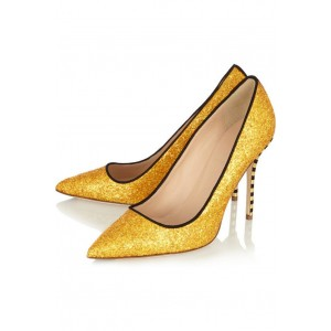 Gold Glitter Shoes Pointy Toe Vegan Stiletto Heel Pumps US Size 3-15