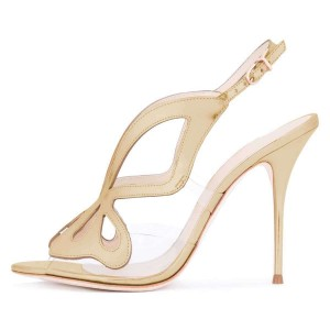 Gold Hollow Out Clear PVC Slingback Heels Sandals
