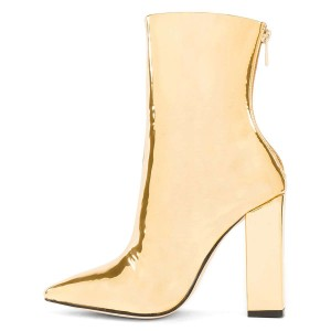 Gold Metallic Chunky Heel Boots Ankle Boots