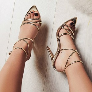 Gold Metallic Heels  Stiletto Heel Strappy Sandals