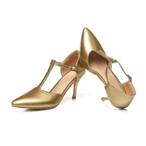 Gold T Strap Pumps Closed Toe 3 Inch Stiletto Heels Shoes
