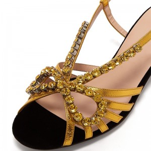 Gold Rhinestone Shoes Slingback Chunky Heel Sandals