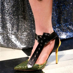 Green Sequined Prom Shoes Stiletto Heels Buckle Ankle Strap Pumps