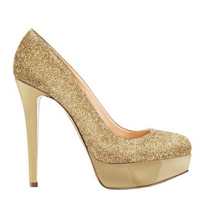 Gold Stiletto Heels Glitter Shoes Sparkly Platform Pumps