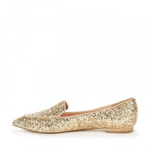 Golden Glitter Loafers for Women Pointy Toe Flats