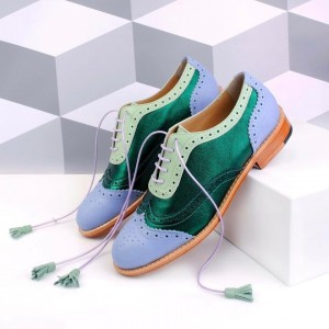 Green and Blue Wingtip Women's Oxfords Lace up Flat Tassels Brogues