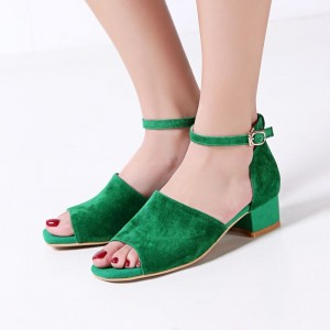 Green Chunky Heel Sandals Peep Toe Block Heels Ankle Strap Sandals