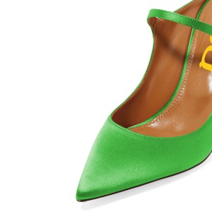 Green Pointy Toe Mule Stiletto Heels sandals for Women