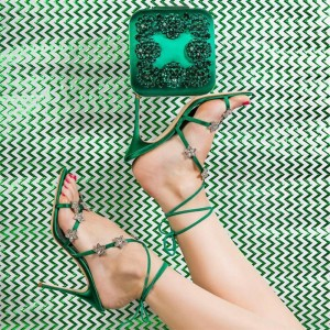 Green Satin Cross Over Stars Ankle Strap Slingback Heels Sandals