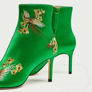 Green Satin Heeled Boots Floral Stiletto Heels Chic Ankle Boots