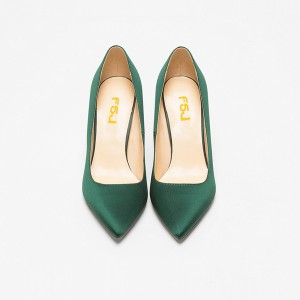 Green Satin Stiletto Heels Pointy Toe Dressy Pumps for Office Ladies