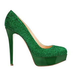 Green Sparkly Stiletto Heels Glitter Shoes Platform Heels