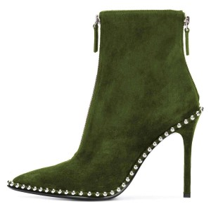 Green Stud Pointy Toe Double Zip Stiletto Boots