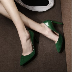Women's 4 Inch Heels Green Suede Office Heels Pointed Toe Pumps