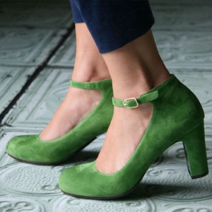 Green Suede Ankle Strap Heels Vintage Round Toe Chunky Heel Pumps