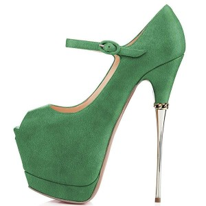Green Peep Toe Platform Mary Jane Stripper Heels