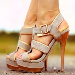 Grey Platform Sandals Suede Open Toe T Strap High Heel Sandals