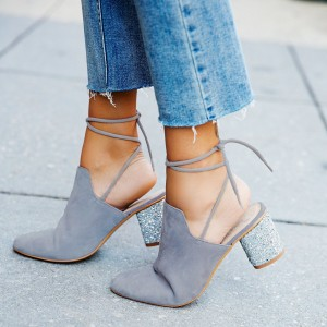 Women's Grey Chunky Heels Round Toe Lace Up Mules Pumps