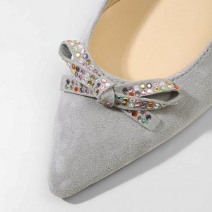 Grey Slingback Heels Pointy Toe Cone Heel Pumps with Bow