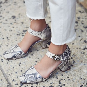 Grey Python Vintage Heels Square Toe Block Heel Closed Toe Sandals