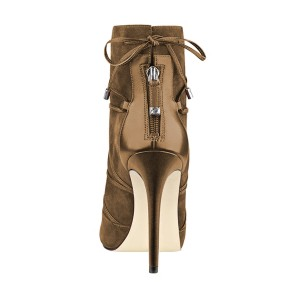 FSJ Brown Stiletto Boots Peep Toe Suede Strappy Booties