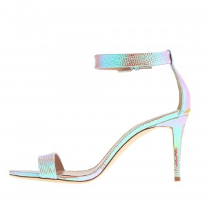 Holographic Shoes Stiletto Heel Ankle Strap Sandals
