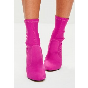 Orchid Round Toe Stiletto Boots Stretch Heeled Ankle Booties