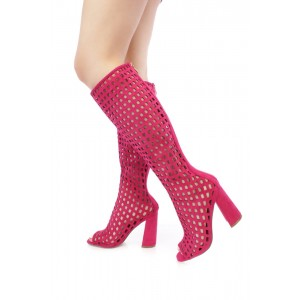 Orchid Summer Boots Peep Toe Hollow out Caged Knee High Boots