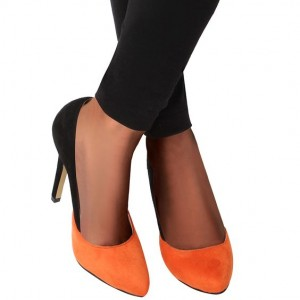 Orange and Black Suede Stiletto Heels Office Heels Pumps