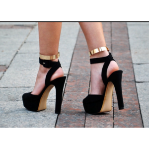 Black and Gold Ankle Strap Sandals Platform Chunky Heels