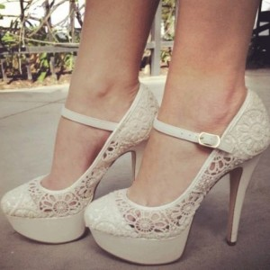 Ivory Lace Platform  Mary Jane Pumps Wedding Shoes